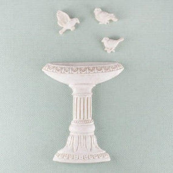 Prima BIRD BATH Shabby Chic Resin Treasures