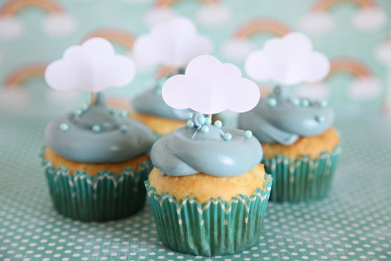Baby Shower Theme, Cloud Cupcake Toppers, Rainy Day theme, Showers, up up and away theme,12 cloud toppers