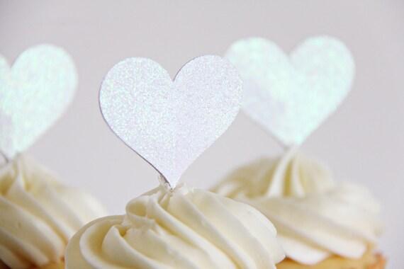 Wedding Cupcake Toppers, Heart Shaped Cupcake toppers, Anniversary toppers, Cupcake Toppers, 12 toppers