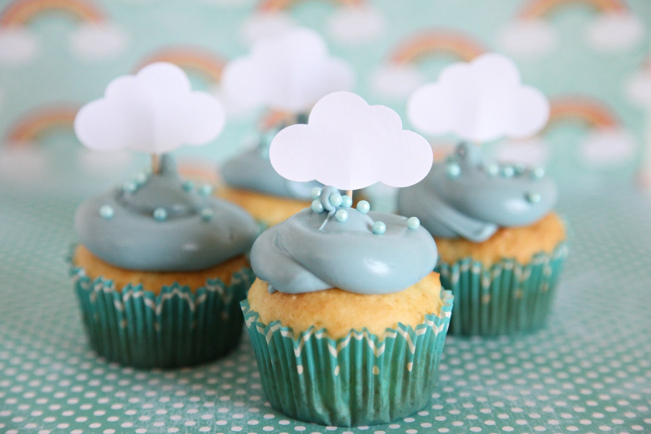 Baby shower theme cloud cupcake toppers rainy day theme by for Baby shower cupcake decoration