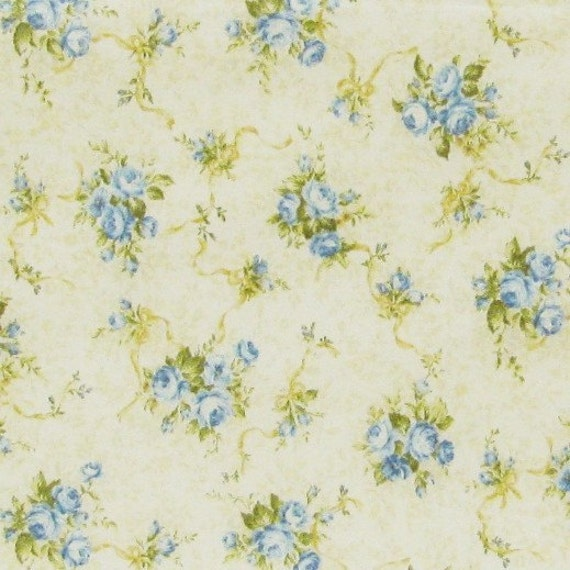 Mary Rose by Quilt Gate MR1302R14 by the 1/2 Yard Light Yellow with Blue Flowers