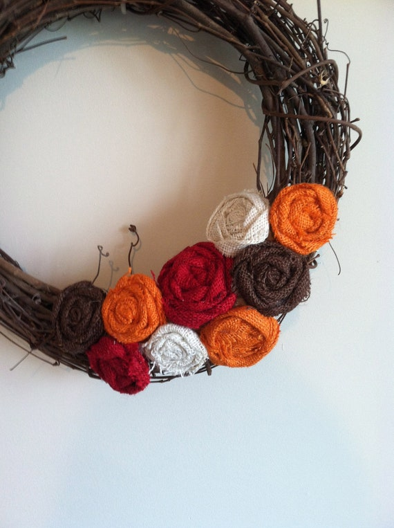 Fall Burlap Wreath Attachment in Red, Orange, Ivory and Brown