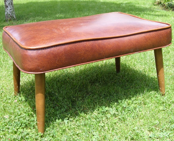 Mid-Century Danish Modern Brown Ottoman Eames Era Large
