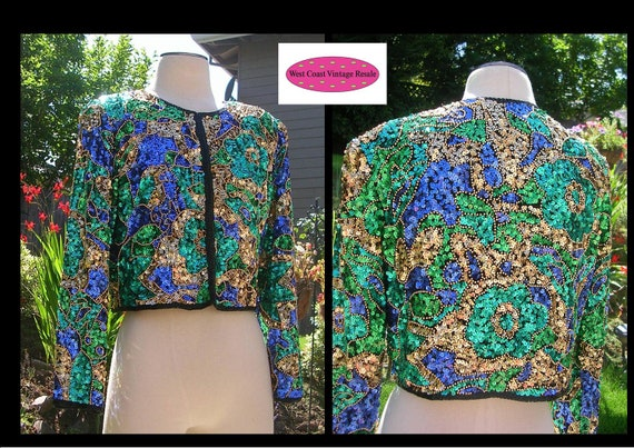 Gorgeous Vintage Laurence Kazar TROPHY Sequin And Bead Silk Bolero Jacket Evening Bright Green Blue Gold And Black
