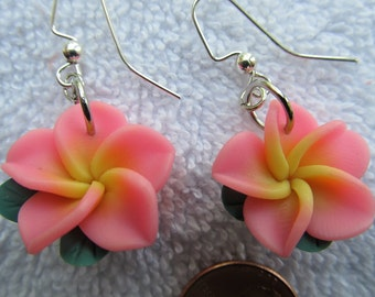 21mm Hawaiian Vibrant Beautiful Pink Plumeria Frangipani Polymer Clay Dangle Earrings with a Yellow Center and Leaves
