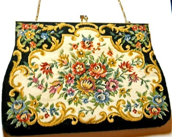 Vintage Purse Tapestry Evening Bag Delill 1950s