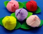 10 pcs - Handmade Rose felt appliques (G061-Ass)