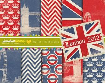 London 2012 Digital Scrapbooking Paper Set - COMMERCIAL USE Read Terms Below