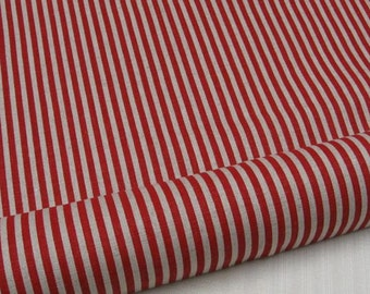 LF068 - Linen Cotton Blended Fabric - Stripe - Stripe - Red  - 1/2  yard