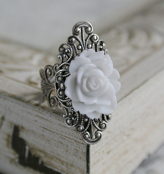 PURITY Victorian fantasy cocktail ring in aged silver with pure white rose