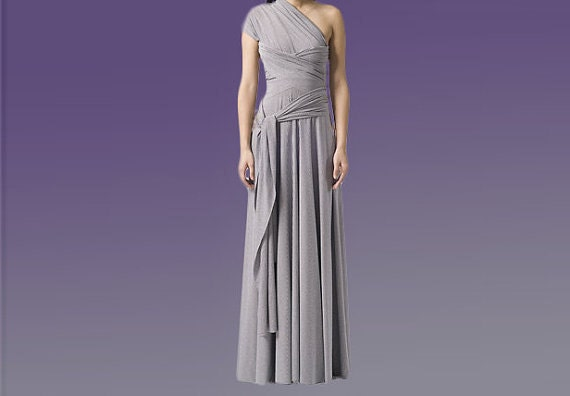 Convertible Infinity Dress / Grey Wedding Dress Custom order to your size
