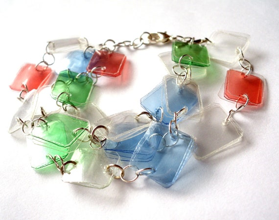Colorful bracelet made of recycled plastic bottles upcycled for Jewelry made from plastic bottles
