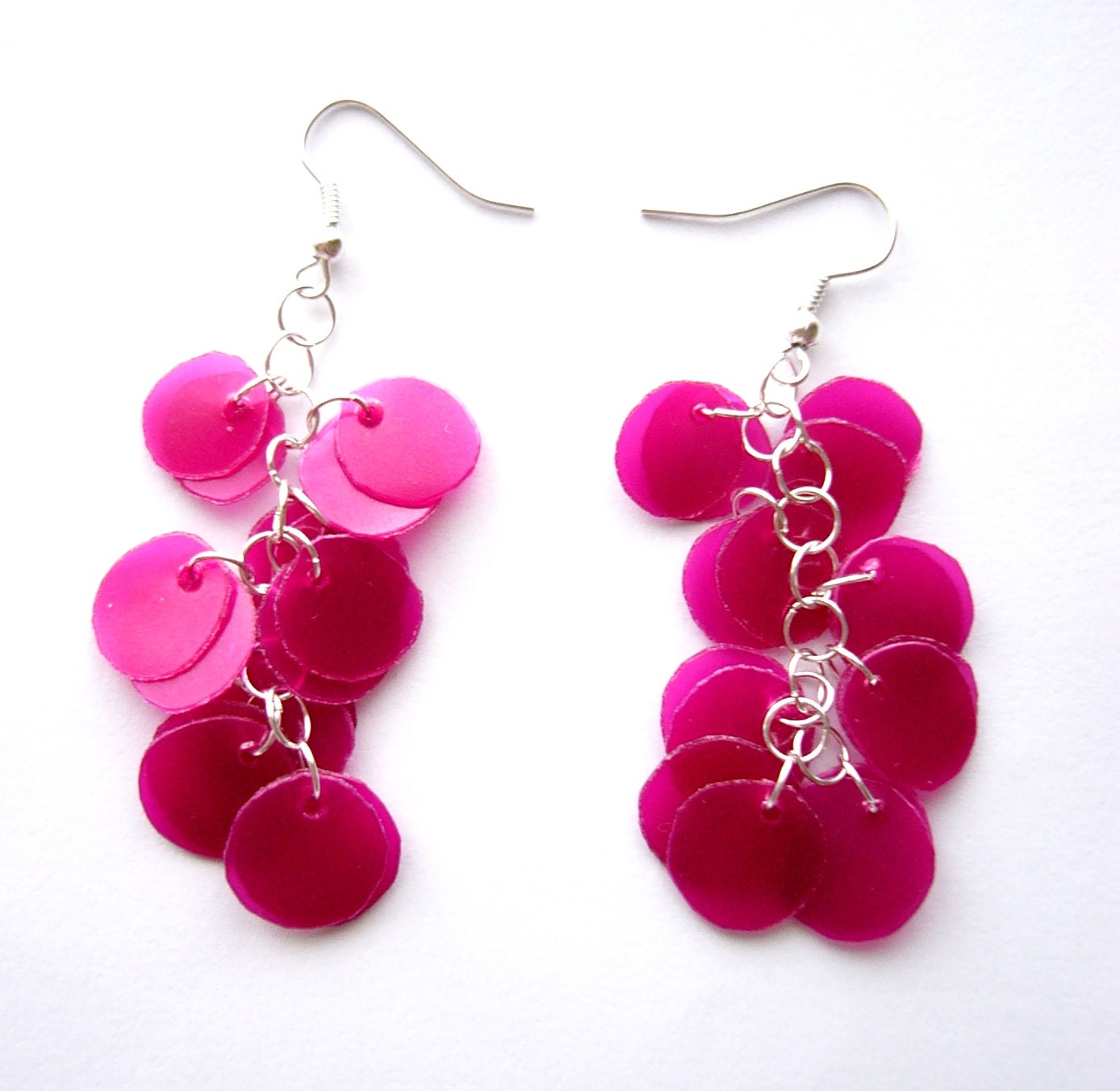 Recycled Plastic Bottle Pink Magenta Earrings Upcycled