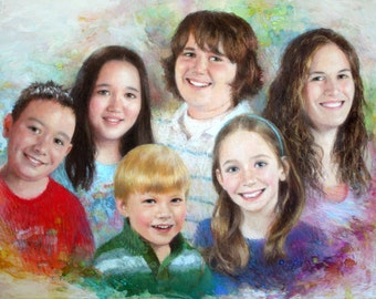 Custom family portrait, children faces pastel painting drawing, group grandchildren people, silver golden anniversary grandparents