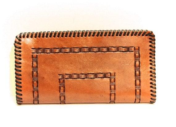 Handmade Genuine Leather Checkbook Cover / Tooled Leather Wallet / Leather Wallet