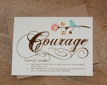 Greeting Card - Definition of Courage with Birds and Pearls