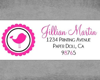Return Address Labels - bird silhouette with scallop