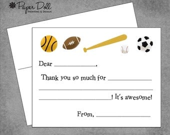 Kids Fill In Thank you Cards - Sports
