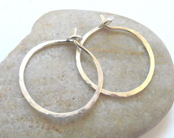 Sterling Silver Hammered Hoops, Argentium Silver 18 Gauge Hoop Earrings, One Inch Silver Hoops, Artisan Earrings, Handcrafted  Earrings