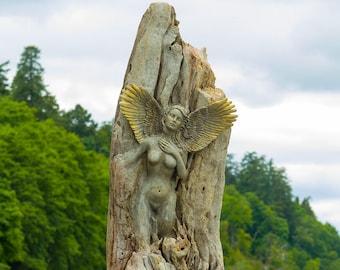 5 x 8 Print - Art Card, Angel of the Shores, Driftwood Sculptures by Debra Bernier, Shaping Spirit