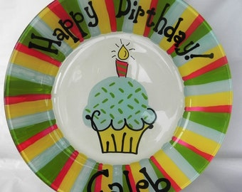 Kids Birthday Party - Custom Birthday Plate - Cake Plate - Hand Painted Personalized Birthday