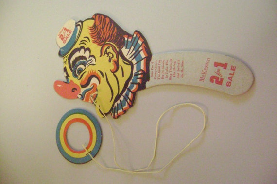 1950 McKesson Drug Co. Advertisement Clown Ring Toss Game