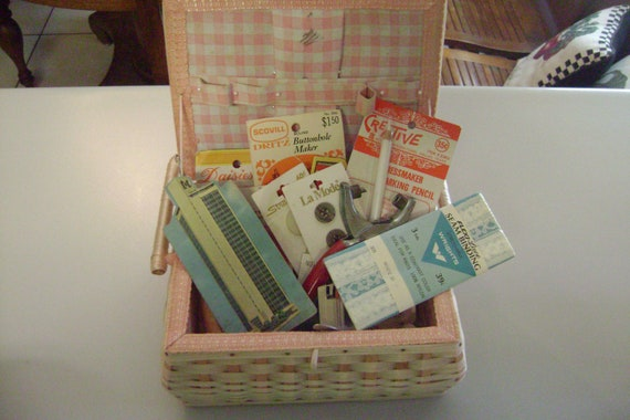 Vintage Sewing Basket Full Of Sewing Notions