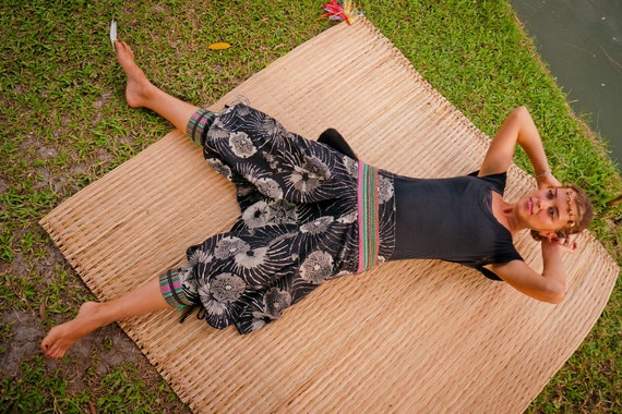 Thai Harem / Capri Pants, Batik Cotton, Hmong Hill Tribe Style, Grey Floral Print w Colored Belt details