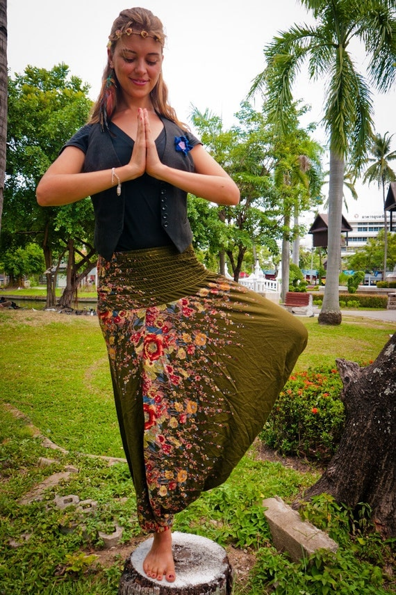 Thai Harem Pants in Cotton, Forest Green and Red&Ochre Floral Print (S-XL) One Size Fits All