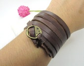 Brown fashion and simple leather bracelet, elegant leather bracelet  Leather Bangle  LL613