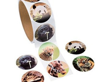 100 Zoo Animal Stickers - 1 Roll