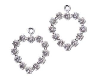 2 Swarovski Heart Crystal Charms