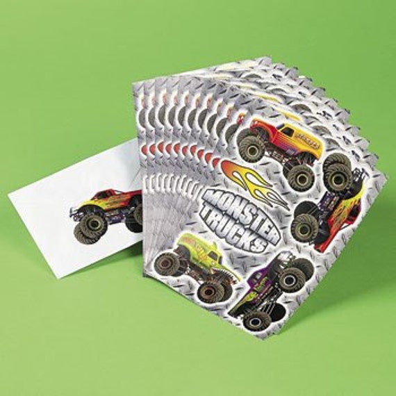 72 Monster Truck Stickers - 12 Sheets