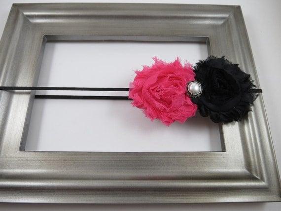 Pink Black Shabby Chiffon Flower Headband  - Baby Shabby Flower Headband - Infant Toddler Teenager Adult Headband