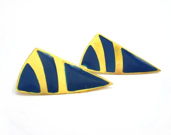Blue and Gold Triangle Earrings