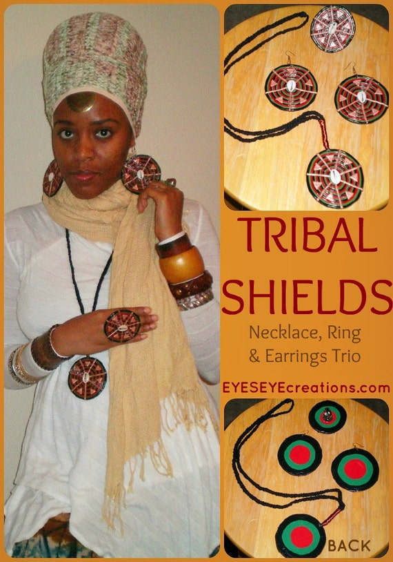 TRIBAL SHIELDS TRIO - African inspired earrings necklace and ring with cowrie/cowry shells - Ready to Ship