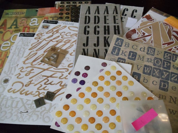 Letters and Alphabet Grab Bag - Huge assortment of stickers and embellishments