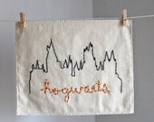 Hogwarts Castle Harry Potter house colors hand embroidered illustration