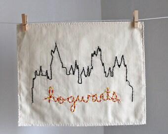 Hogwarts Castle Harry Potter Gryffindor house colors hand embroidered illustration