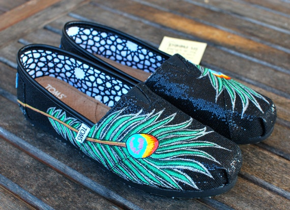 Hand Painted Black Glitter Peacock Feather TOMS shoes