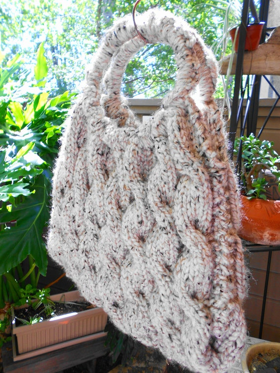 """GORGEOUS Hand Knitted Large Cable Stitch """"Oatmeal"""" Wool Blend Handbag NEW STOCK"""