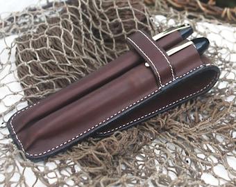 Leather double Pen Case Ergo Design