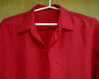 CLEARANCE red silk shirt  by 'Express' size medium