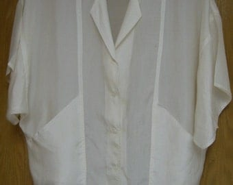 vintage off white silk shirt  by 'Sunny Leigh' . . . .  size medium