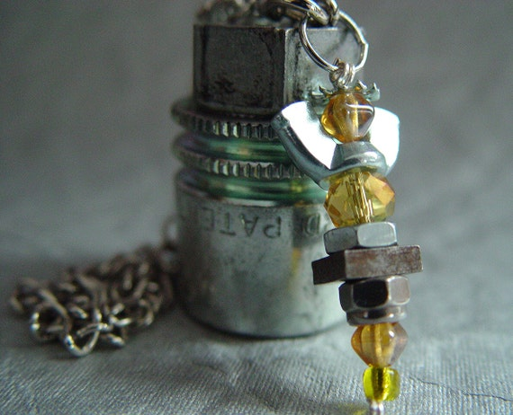 ROAD ANGEL - Golden Yellow & Silver Iridescent Antiqued Wingnut Rear View Mirror Angel Charm
