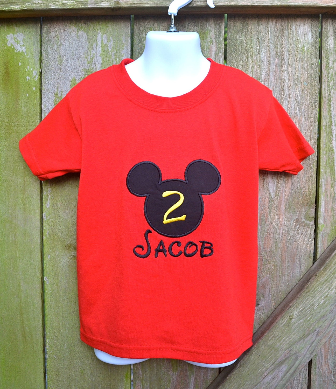 Mickey Mouse Birthday Monogrammed Applique Shirt By