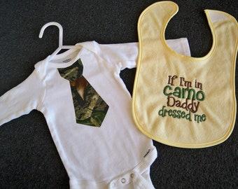 "Camo Baby Boy Gift Set - Yellow Baby ""If I'm in Camo Daddy Dressed Me"" Bib and Camo Tie Bodysuit - Daddy's Little Hunter - Camo Baby Boy"