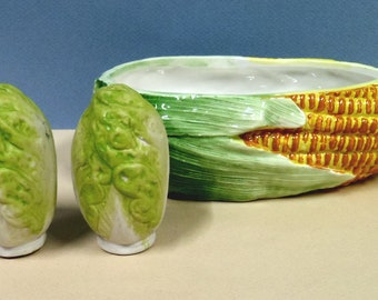 Cabbage Salt and Pepper Shakers and Corn Bowl Set, 3 Piece Set, Vintage Vegetables, Very Detailed