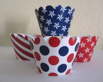 12 Red, White and Blue Standard Cupcake Wrappers