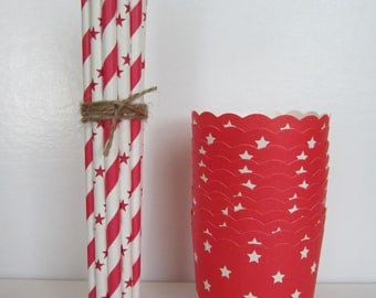 Red and White Star Baking Favor Cup & Straw Combo